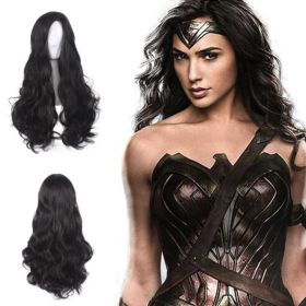 Wonder Woman Cosplay Props Wigs Black Long Curly Hair for Adult Women