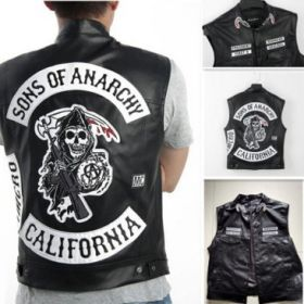 Sons Of Anarchy Embroidery Leather Rock Punk Vest Cosplay Costume