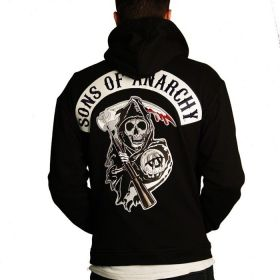 Sons Of Anarchy Cosplay Costume Embroidery Motorcyclist Hooded Zipper Jacket
