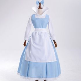 Beauty and the Beast Princess Belle Maid Cosplay Costume Stage Performance Dress