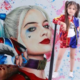 Movie Suicide Squad Harley Quinn Cosplay Costume for Girls Halloween Party Cosplay Jacket T-shirt and Pants