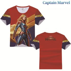 Captain Marvel Cosplay Costume Summer Short Sleeve T-shirt for Adult and Kids