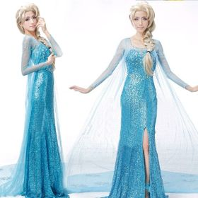 Frozen Queen Elsa Cosplay Cotume Party Stage Performance Dress for Women Girls