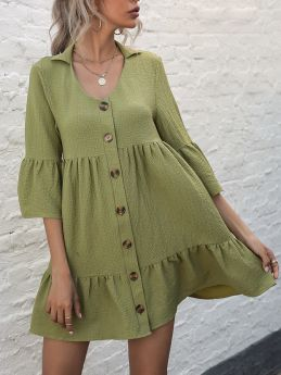 Summer Dress Lapel Half-sleeve Single Breasted Solid Color Casual Short Shirt Dresses