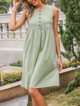 Summer Dress Sleeveless Round Neck Vest Dress Single Breasted Draped Solid Color Midi Dresses