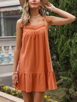 Summer Dress Slip Tassel Lace Stitching Solid Color Flounced Hem Short Casual A-Line Dresses