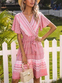 Summer Dress V-Neck Short Sleeve Printed Belted Midi A-Line Dresses