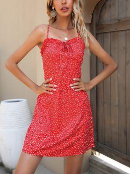 Summer Dress Slip Ruffled Bowknot Open Back Printed Short Chiffon Dresses