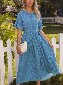 Summer Dress Polka Dot Printed Ruffled Short Sleeve Round Neck Single Breasted Belted Maxi Dresses