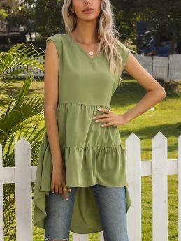 Summer Dress Sleeveless V-Neck Solid Color Irregular Flounced Hem High-low Vest Dresses