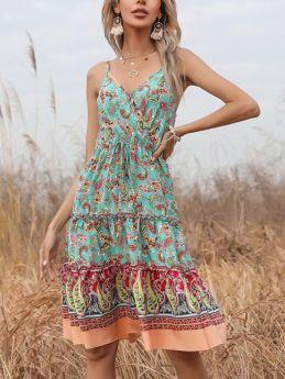 Summer Dress Straps V-Neck Open Back Printed Drawstring Flounced Hem Midi Swing Chiffon Dresses