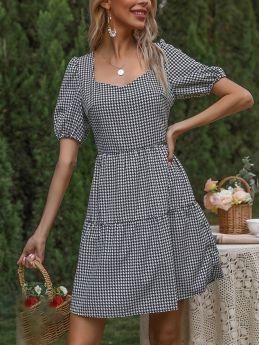 Summer Dress Square Neck Short Sleeve Houndstooth Flounced Hem Short A-Line Dresses