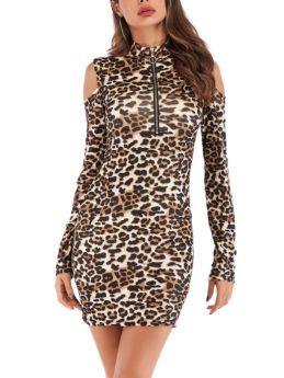 Fall Long Sleeve Cold Shoulder Zipper Stand Collar Leopard Print Short Pencil Dresses