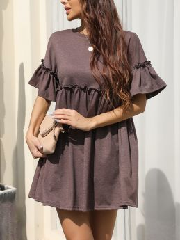 Summer Dress Solid Color Ruffled Short Sleeve Round Neck Casual Short A-Line Dresses