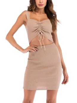 Summer Dress Straps Tube Top Cut Out Drawstring Open Back Knitted Short Bodycon Dresses