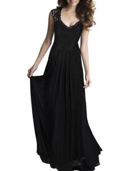 Sleeveless V-Neck Lace Chiffon Stitching Maxi Swing Evening Prom Dress