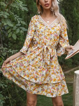 Spring Summer Ruffled Lace Stitching Floral Printed V-Neck Bell Sleeve Belted Double Layered Short Dress