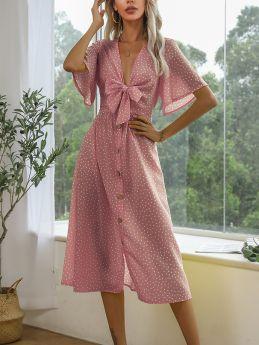 Summer Dress V-Neck Polka Dot Printed Bowknot Hollow Short Sleeve Single Breasted Long Dresses