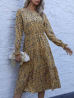 Spring Fall Long Sleeve Round Neck Leopard Print Flounced Hem Midi Chiffon Dresses