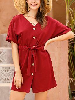 Summer Dress Solid Color Short Sleeve V-Neck Single Breasted Belted Short Shirt Dresses