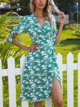 Summer Dress Bowknot Short Sleeve V-Neck Floral Printed Belted Irregular Midi Dresses