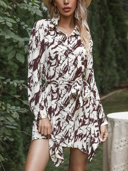 Spring Women Long Sleeve Tie Dye Lapel Single Breasted Belted Irregular Short Vintage Shirt Dress