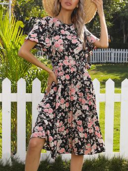 Summer Dress Round Neck Bell Short Sleeve Floral Printed Belted Midi Swing Dresses