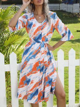 Summer Dress V-Neck Half-sleeve Tie Dye Single Breasted Belted Split Midi Shirt Dresses