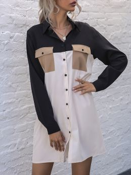 Spring Long Sleeve Contrast Color Stitching Lapel Single Breasted Pockets Loose Short Shirt Dress
