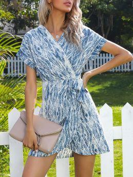 V-Neck Printed Short Sleeve Irregular Belted Short Summer Dress