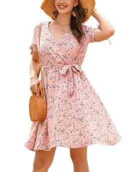 Summer Dress Floral Printed Bowknot Short Sleeve V-Neck Belted Short Chiffon Dresses