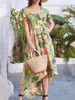 Irregular Ruffled Short Sleeve V-Neck Printed Belted Maxi Summer Dress