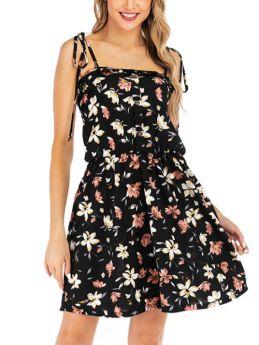 Straps Open Back Sleeveless Floral Printed Short Black Summer Dress