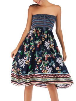Tube Top Bowknot Pleated Printed Stitching Color Holiday Short Summer Dress