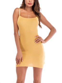 Slip Dress Women Straps Open Back Bowknot Solid Color Short Summer Dresses