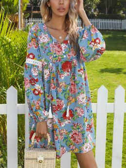 Floral Printed Lace Stitching Long Sleeve Tassels V-Neck Casual Midi Dress