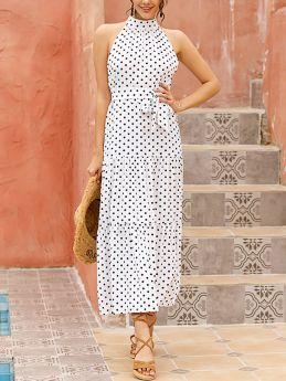 Halter Sleeveless Polka Dot Printed Belted Flounced Hem Maxi Swing Chiffon Summer Dress