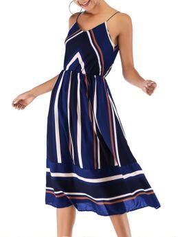Slip Dress V-Neck Open Back Striped Stitching Color Chiffon Long Summer Dresses