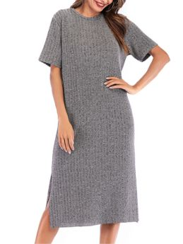 Solid Color Short Sleeve Round Neck Ribbed Split Casual Long Dress