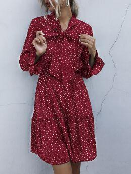 Women Polka Dot Printed Bow Tie Neck Long Sleeve Flounced Hem Midi Dress