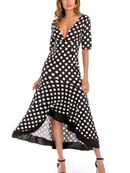 Deep V-Neck Half-sleeve Open Back Polka Dot Printed Irregular Ruffled Maxi Summer Dress