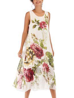 Summer Chiffon Sleeveless U-Neck Floral Printed Loose Casual Bohemian Long Dress