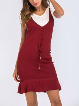 Summer Solid Color Sleeveless V-Neck Lace-up Flounced Hem Knitted SHort Bodycon Dress