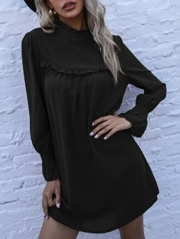 Spring Solid Color Ruffled High-neck Long Sleeve Loose Casual Short A-Line Dress