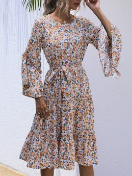 Women Chiffon Dress Floral Printed Round Neck Bell Long Sleeve Belted Midi Swing Dresses