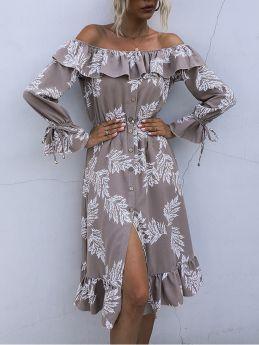 Women Ruffled Off the Shoulder Long Sleeve Single Breasted Printed Long Shirt Dress
