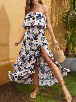 Off the Shoulder Tube Top Chiffon Floral Printed Multi-layer Ruffled Maxi Split Summer Dress