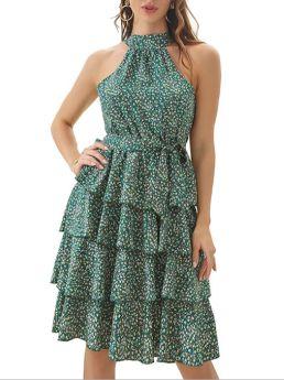 Women Summer Halter Sleeveless Open Back Ruffled Floral Printed Midi Layered Dress