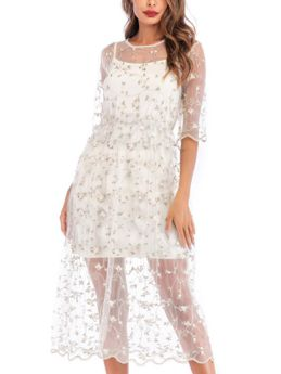 Two Piece Dress Straps Open Back Half-sleeve Flower Embroidery Gauze See-through Midi Summer Dresses
