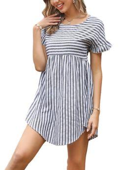 Women Ruffled Short Sleeve Round Neck Striped Irregular Mini Summer Dress